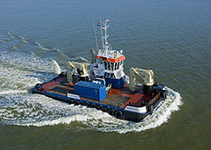 bnr 173 Zwerver 1, multi-purpose shallow draught triple propelled workboat, maritime ship design and shipbuilding by Kooiman Marine Group KMG