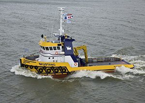 bnr 183 Mustang twin screw chine strake hull tugboat with stern roll and push bow, maritime ship design and shipbuilding by Kooiman Marine Group