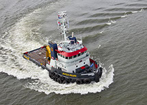 bnr 190 Dutch Pearl twin screw chine strake hull tugboat with stern roll and push bow, ship design and shipbuilding by Kooiman Marine Group KMG