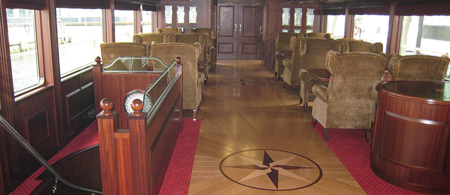 Interior Carpentry Work Spirit Of Chartwell Passenger Ship On The Thames In  London, Interior Design