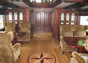 interior carpentry work Spirit of Chartwell passenger ship on the Thames in London, interior design and carpentry work Kooiman Marine Group KMG